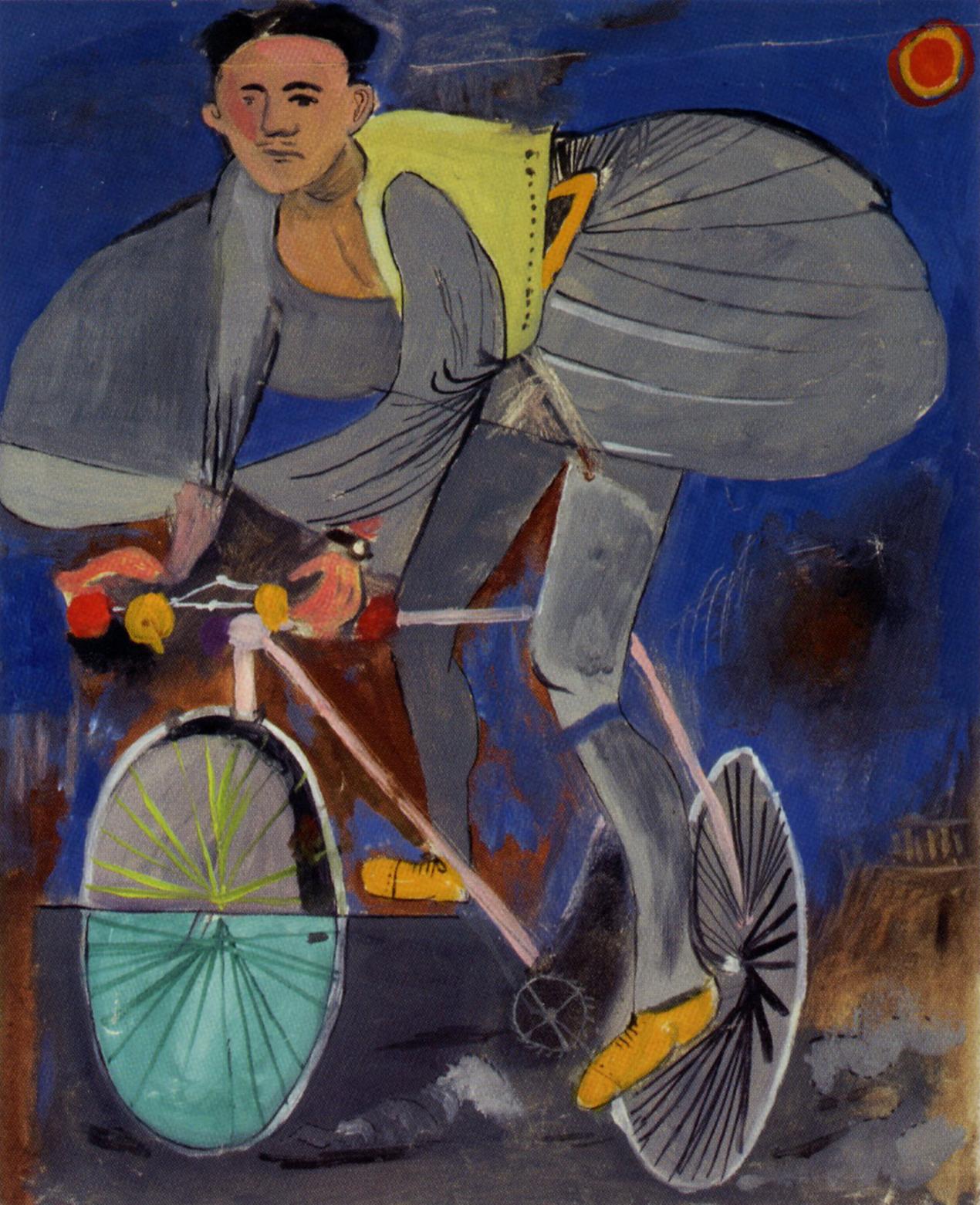 Γιάννης Τσαρούχης -Ποδηλάτης μεταμφιεσμένος σε τσολιά, μ' ένα ναό δεξιά κάτω